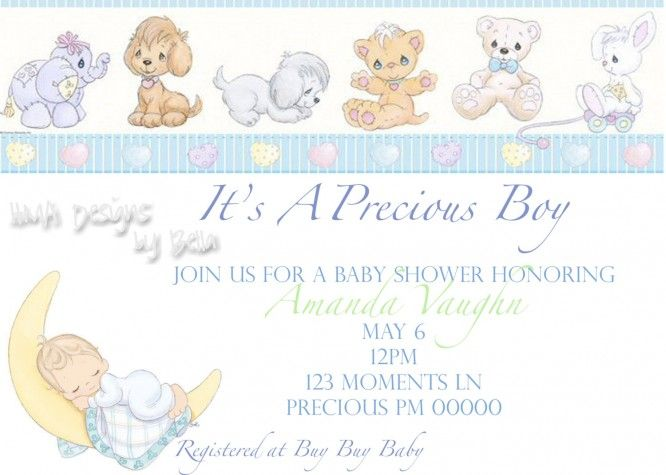 Precious Moments Boy Baby Shower Invitations With Animal Themed