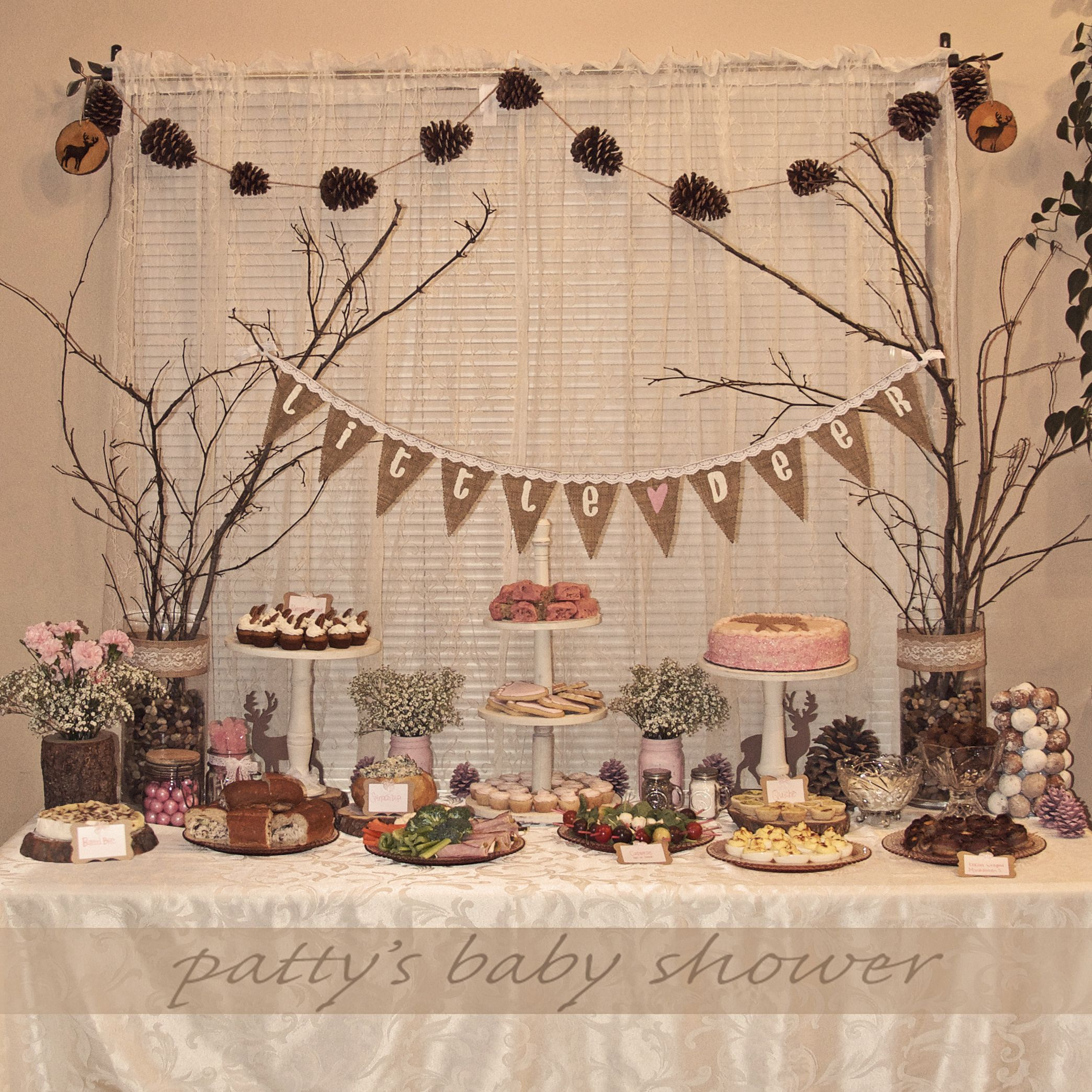 Rustic Baby Shower Deer Theme Country Pink Little Woodland Crafty DIY Girl Burlap Banner Pinecone Garland