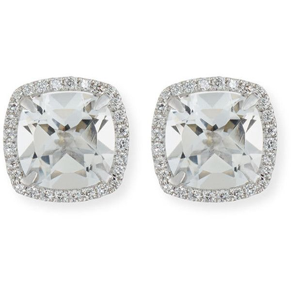 Frederic Sage 18K White Gold Pink Topaz Diamond Halo Stud Earrings DzkhXIi