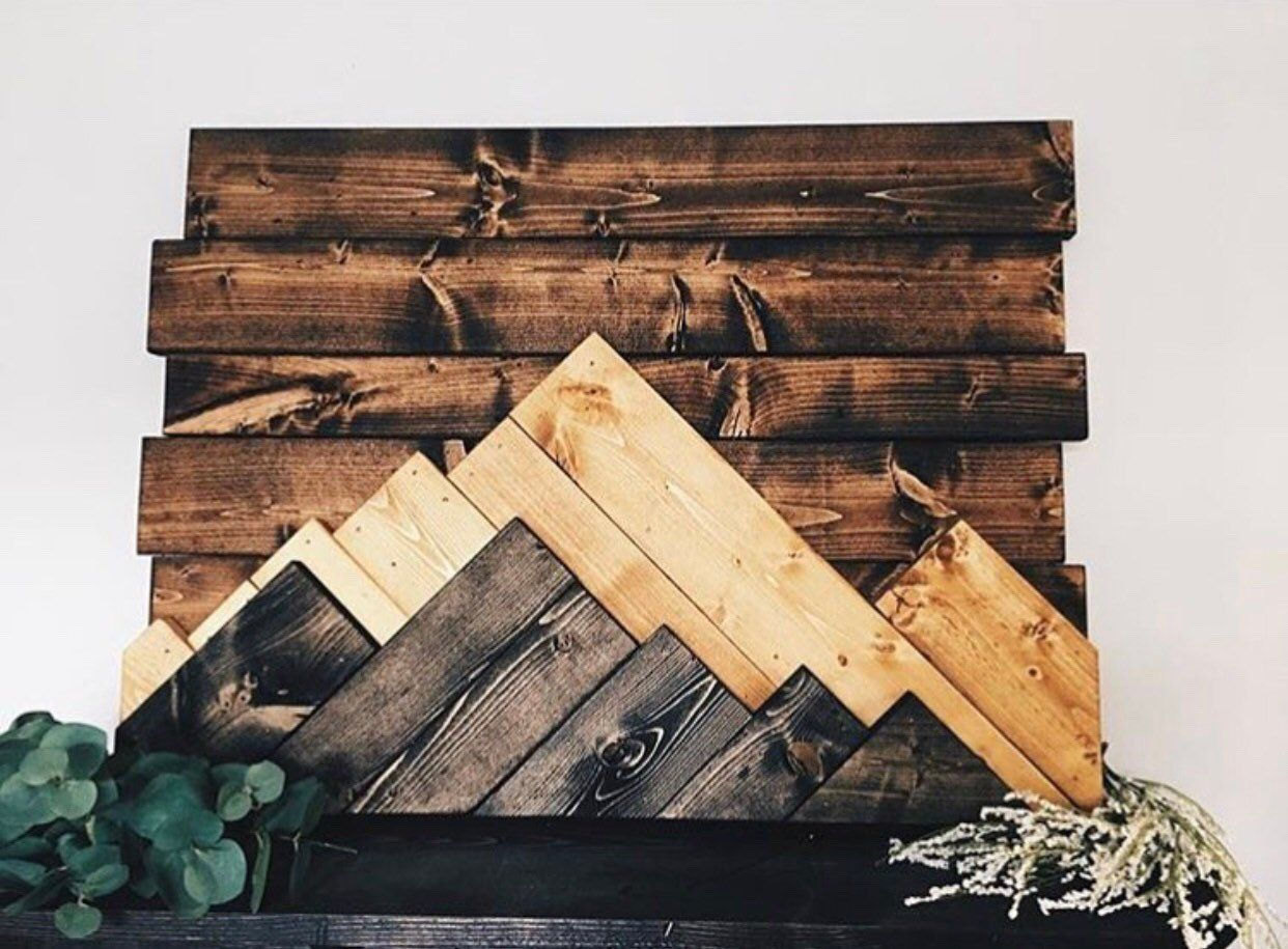 reclaimed wood wall art mountains