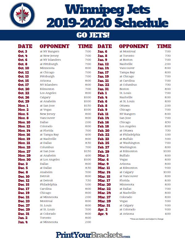 Printable Winnipeg Jets Hockey Schedule 2019 2020 Winnipeg Jets Hockey Jets Hockey Winnipeg Jets