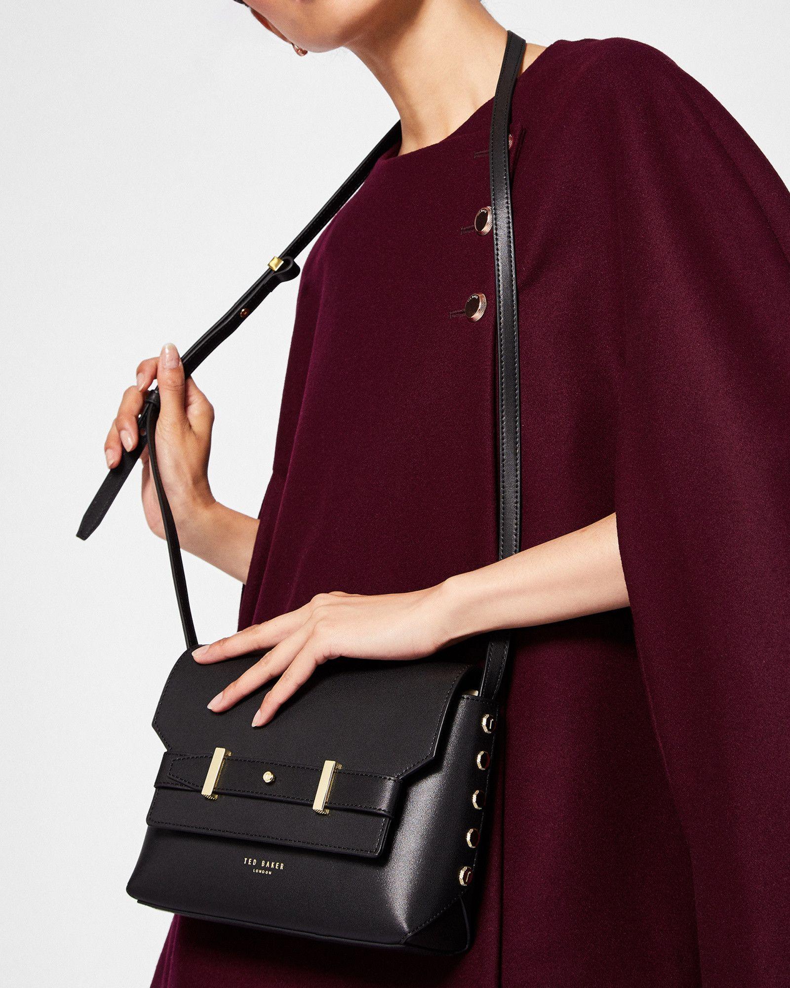 f9d3613e733 Studded edge leather cross body bag - Black | Bags | Ted Baker UK ...