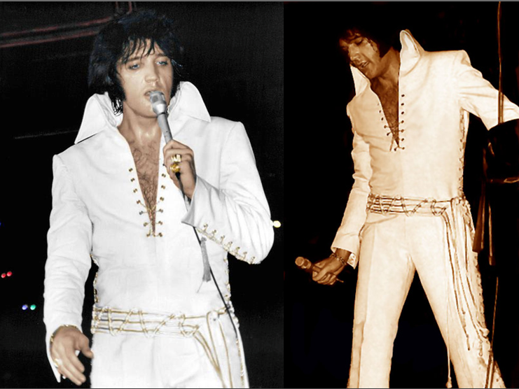 6040b073003a ONLY TWICE! ELVIS wearing one of his very rare jumpsuits  WHITE RIBBS. It s