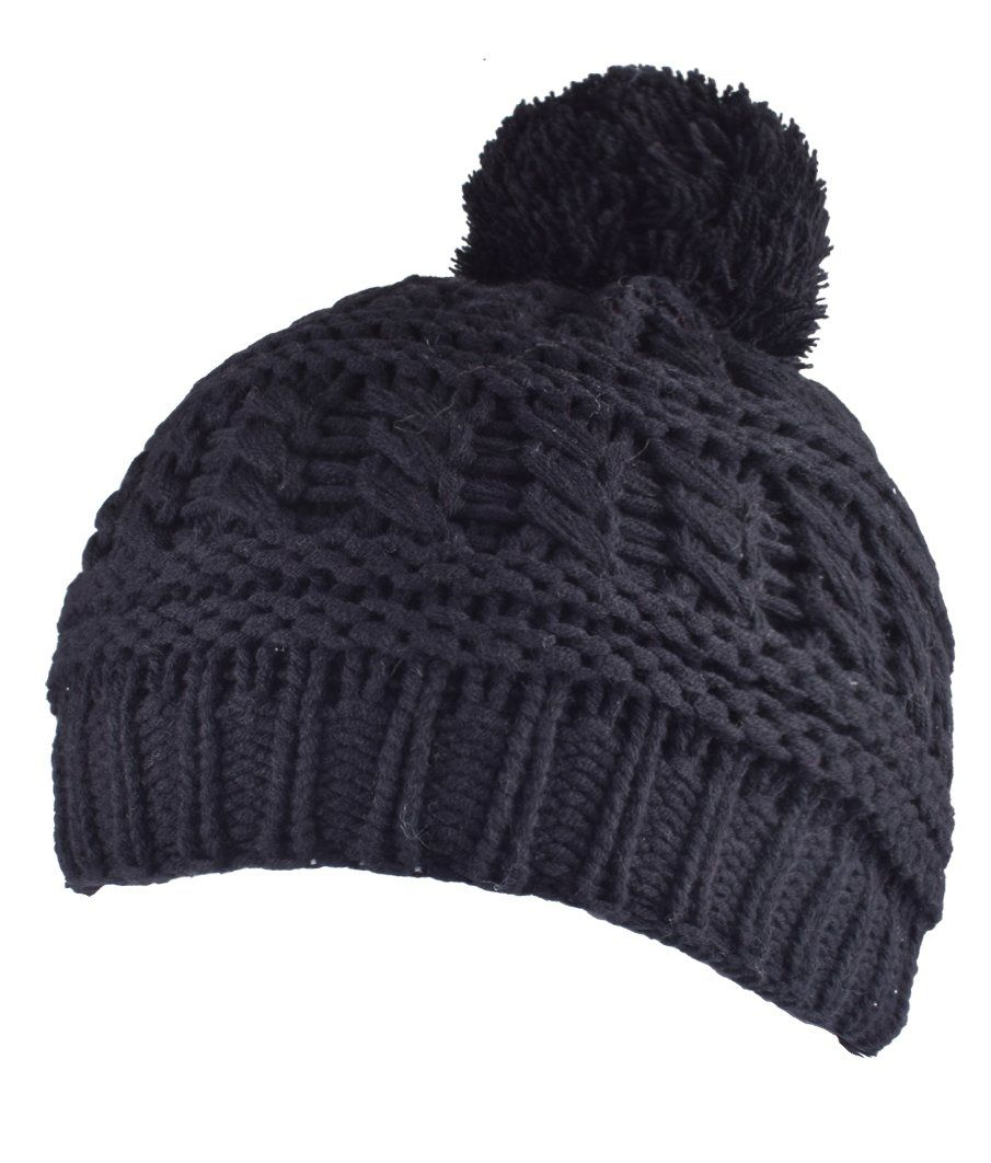 ORSKY Black Beanie Skull Cap With Pom Knit Bobble Hat Winter Hats For Women  and Men    You can get more details by clicking on the image. 447debefdc3