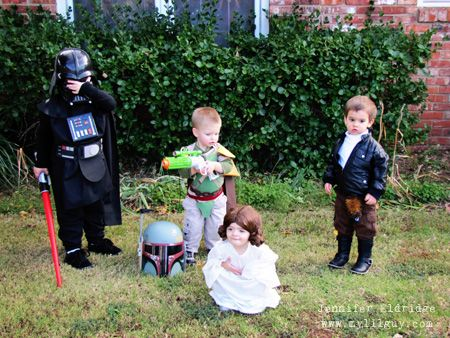 Little Star Wars Group Shot- Darth Vader, Boba Fett (he didn't want to wear the helmet), Leia and Han Solo.