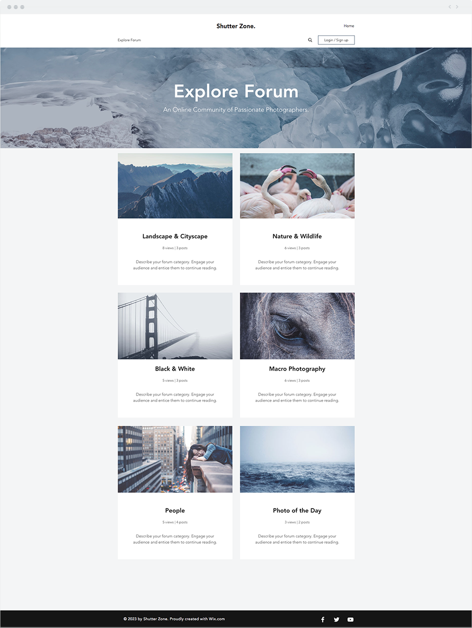 Photography forum website template wix website templates photography forum website template pronofoot35fo Gallery