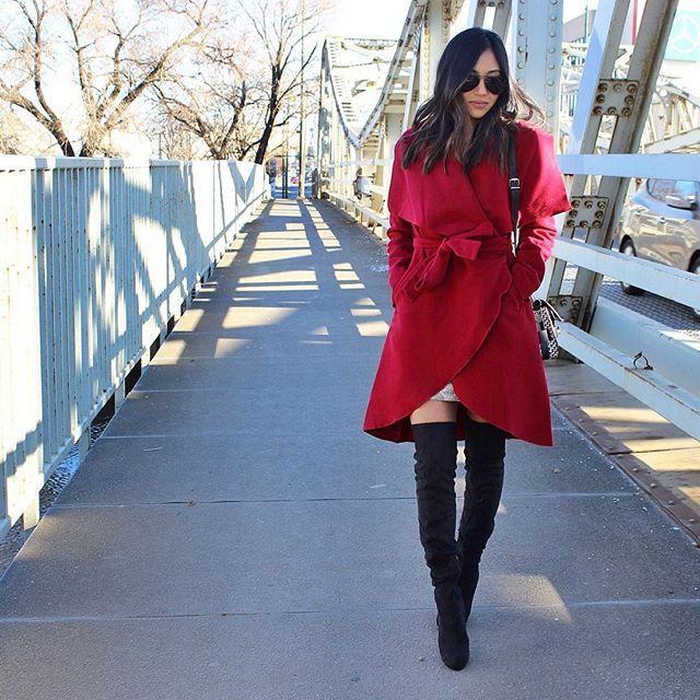Red coat with @farhfromordinary Yay?