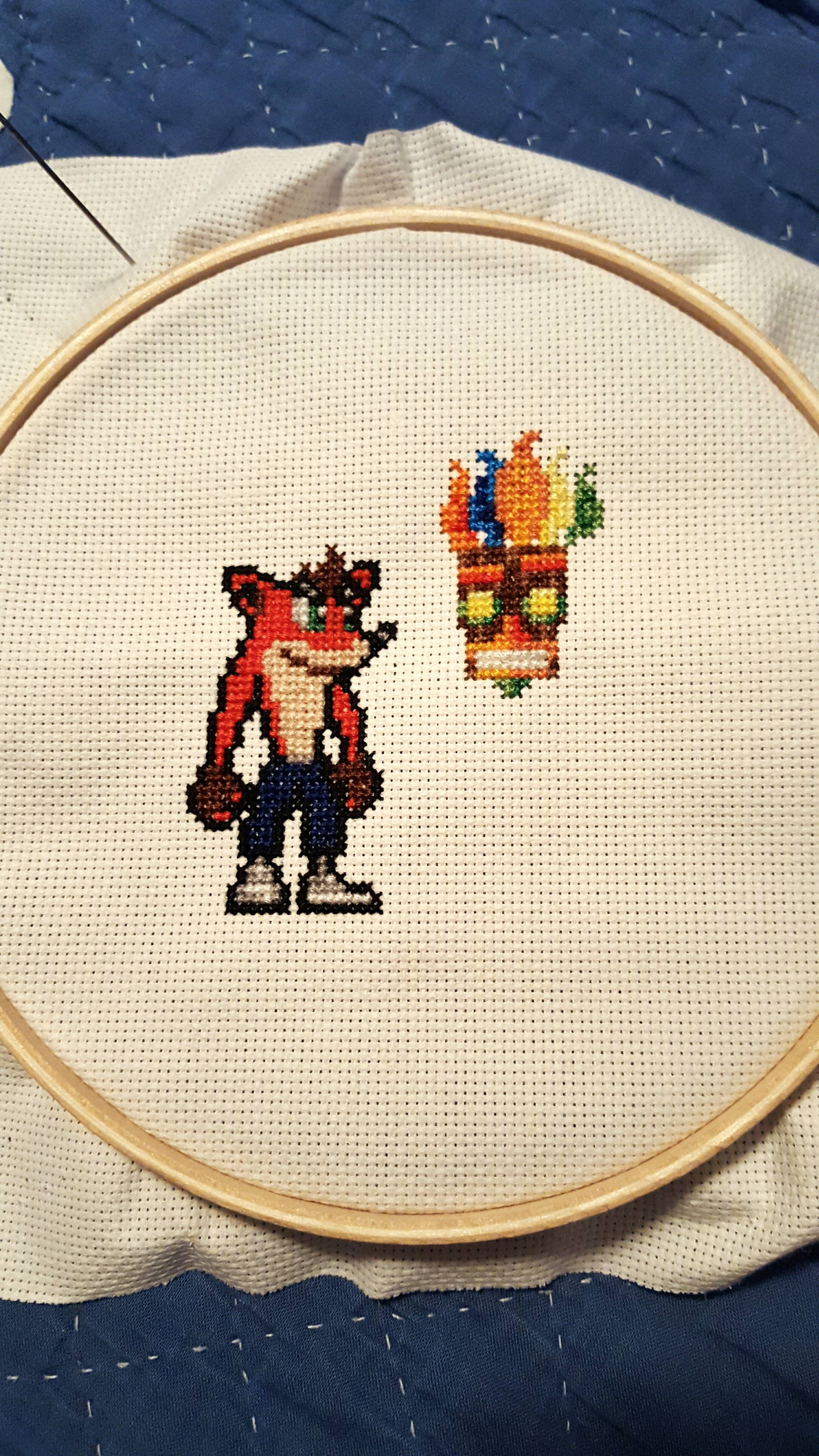 The cross-stitch embroidery of the dragon will carry luck all year round