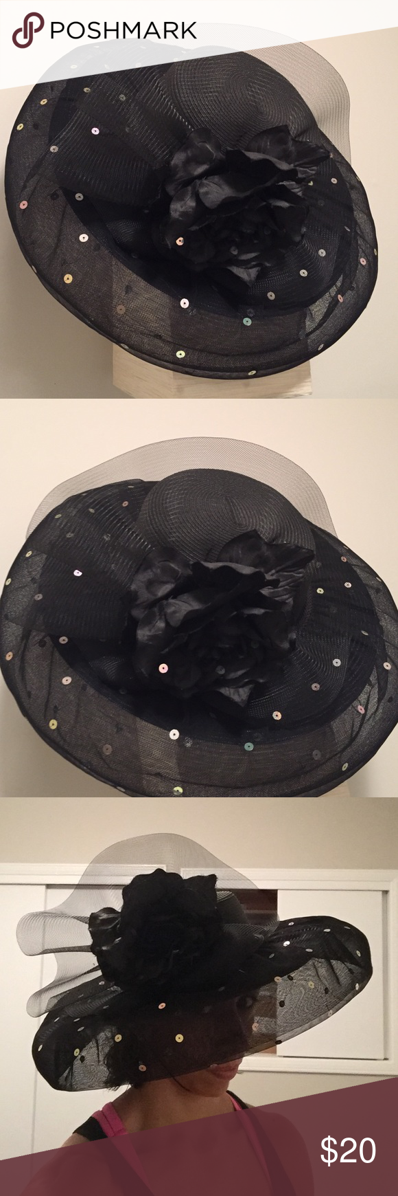 Oversized bonnet This is the perfect hat for a horse race or any other party requiring a large black hat. This piece has never been used. Accessories Hats