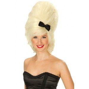 Perruque bouclée blond platine femme 50ees Perruque