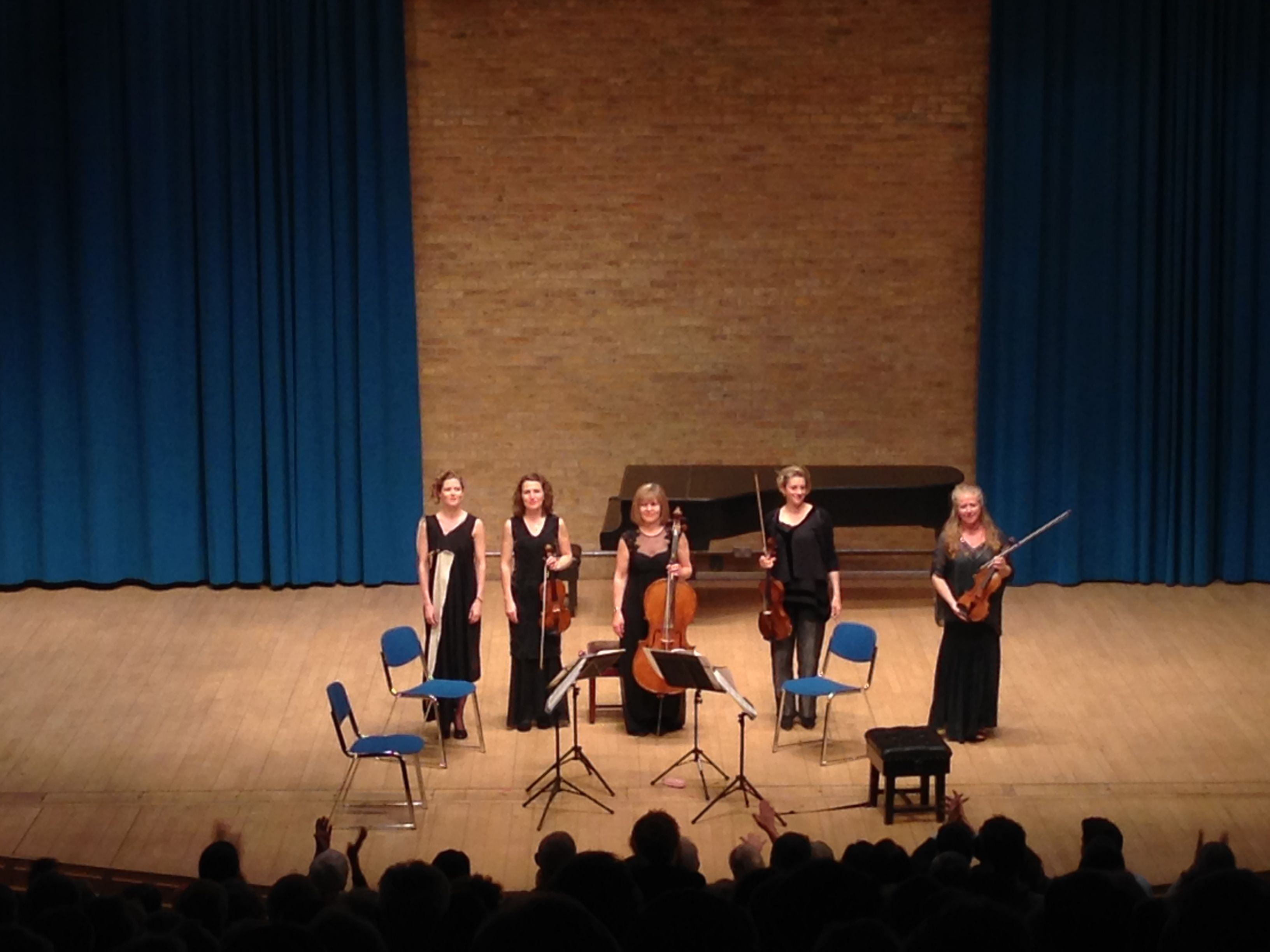 Barbara Hannigan and string principals from Britten Sinfonia take their bows after In Focus II in Cambridge (2/5/15)