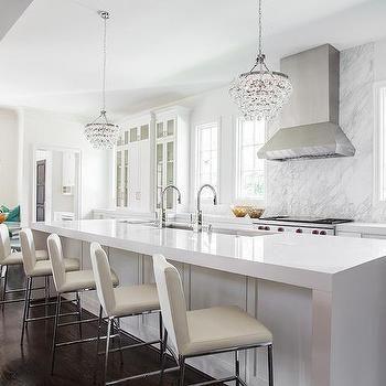 waterfall kitchen island with robert abbey bling chandeliers contemporary kitchen on kitchen island ideas white quartz id=69390