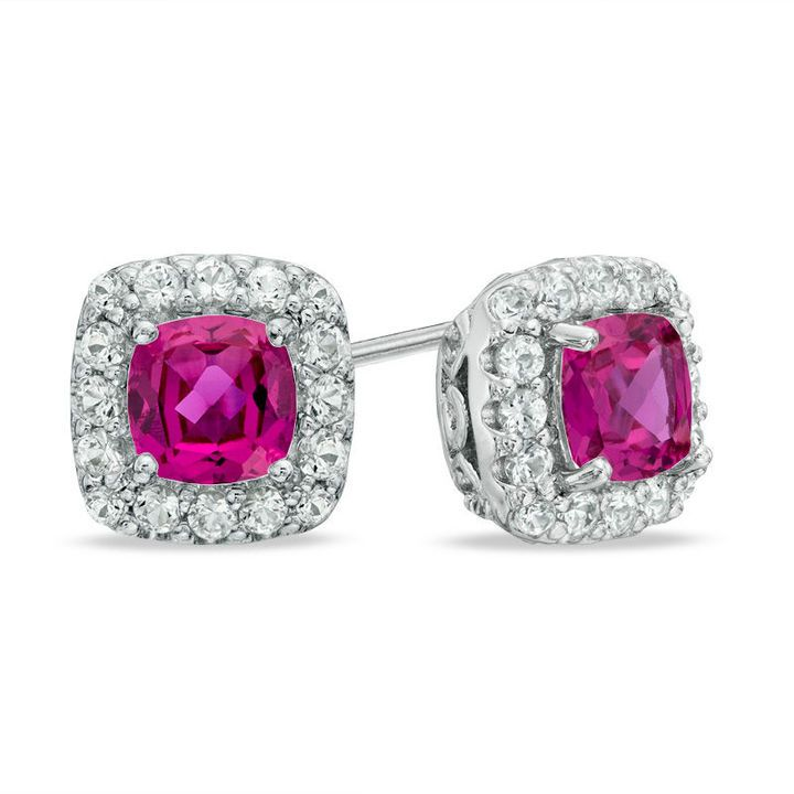 Zales 7.0mm Cushion-Cut Lab-Created Pink and White Sapphire Frame Stud Earrings in Sterling Silver kaW5jx