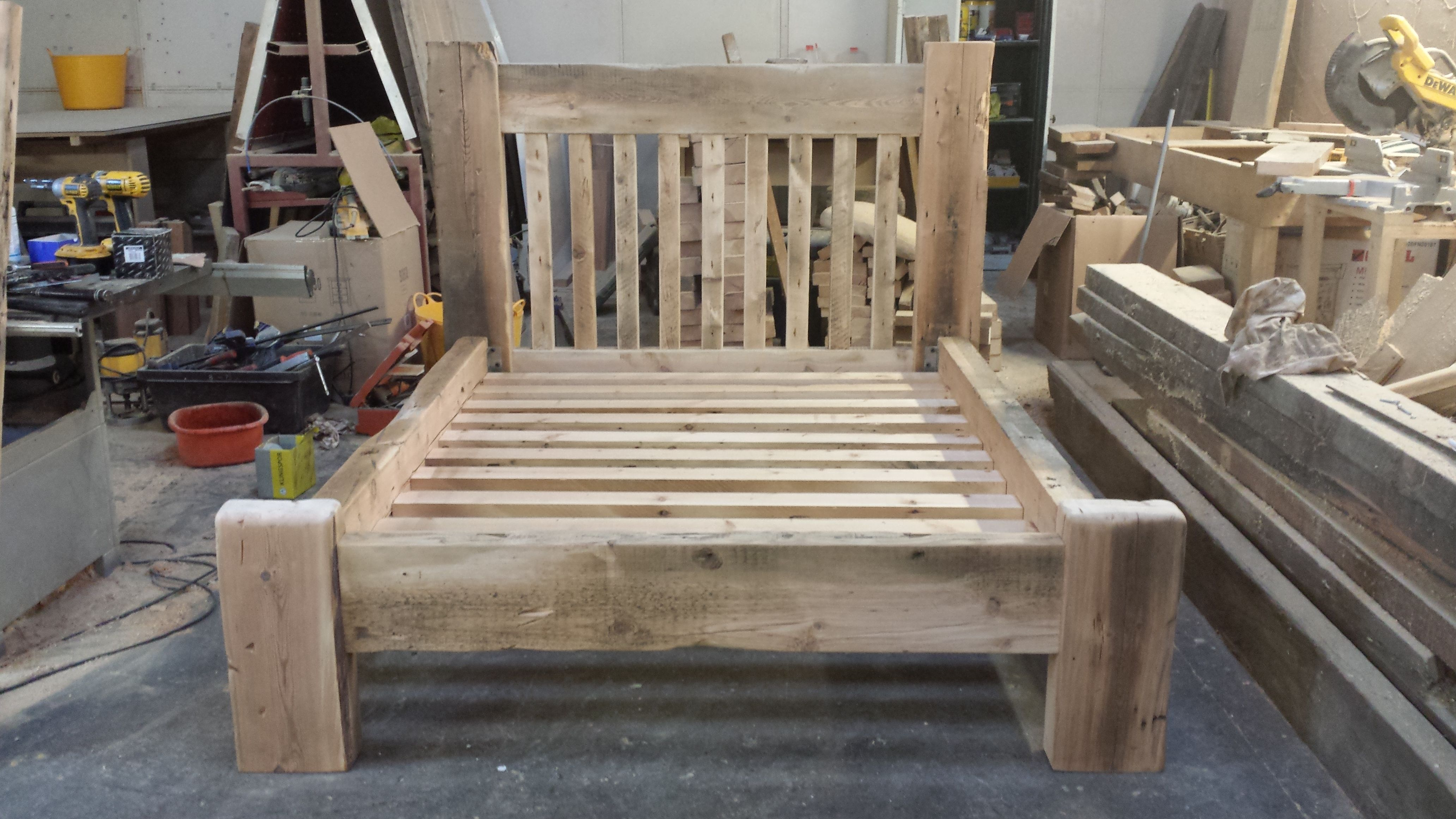 Chunky Reclaimed Pine King Size Bed Frame Reclaimed Pine