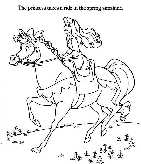 Princess Aurora Riding A Horse Coloring Page Kids Play Color Horse Coloring Pages Coloring Pages Sleeping Beauty Coloring Pages