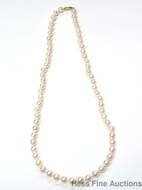 c358d046c64 Vintage 14k Gold 6.5-7mm Cultured Akoya Saltwater Pearl Strand Necklace 20  inch #StrandString