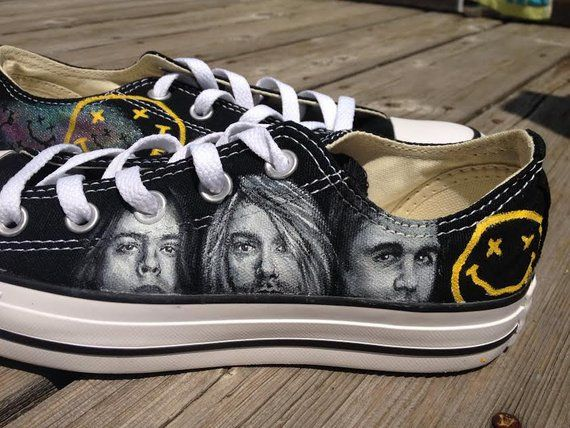 Custom Painted Nirvana Converse | Products in 2019 | Painted