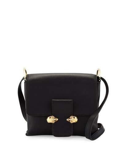 Alexander McQueen Twin Skull Leather Crossbody Bag, Black