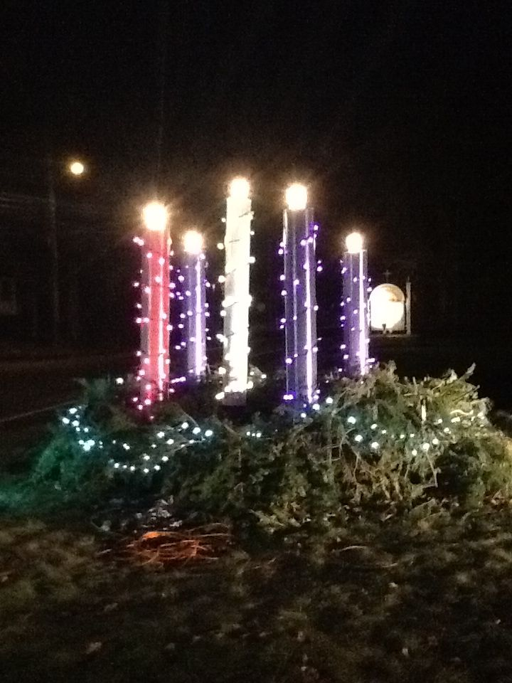 This 7 Foot High Outdoor Advent Wreath Was Built On The Church Lawn As A Witness To Community It Is Made From Sonos Christmas Lights Plastic Pipe