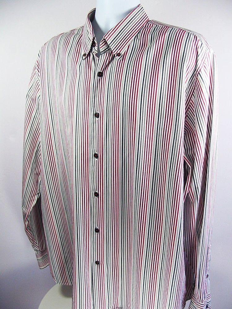 7e0833cb49e MICHAEL KORS Mens Casual Shirt Red Black White Striped Button Down Size XXL   MichaelKors  ButtonFront