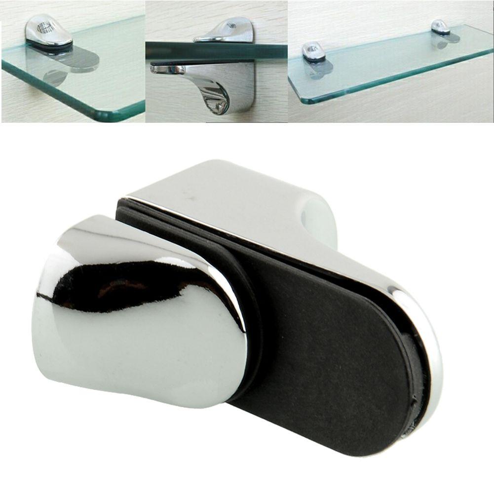 Glass Wood Shelf Metal Adjustable Bracket Support Bathroom Polished Chrome