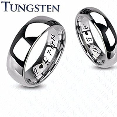 Personalized High Polished Tungsten Ring Set Custom Engraved