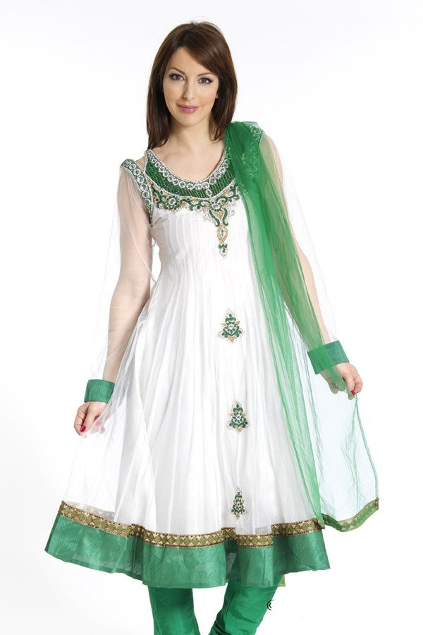 Fashion Dresses | 14th August Fashion Dresses- Green And White ...