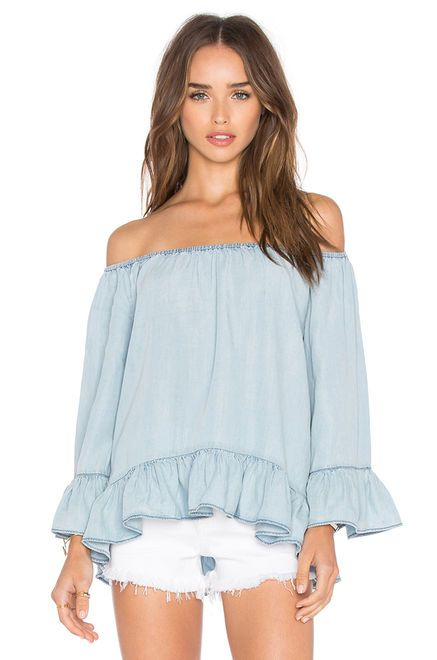 Sanctuary Julia Off Shoulder Top in Kaskade Wash | REVOLVE ...
