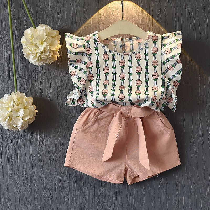 Baby Kleinkind Sleeveless Tops Bow Shorts Outfit Sommer