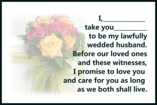 Marriage Vows - Christian Vows | Wedding Ceremony Decor & Flowers ...