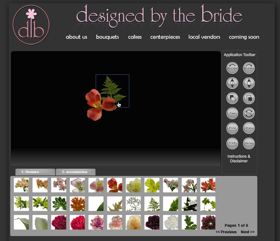 a tool i came across recently from designed by the bride lets you to virtually design your own wedding bouquet online then save or print the results