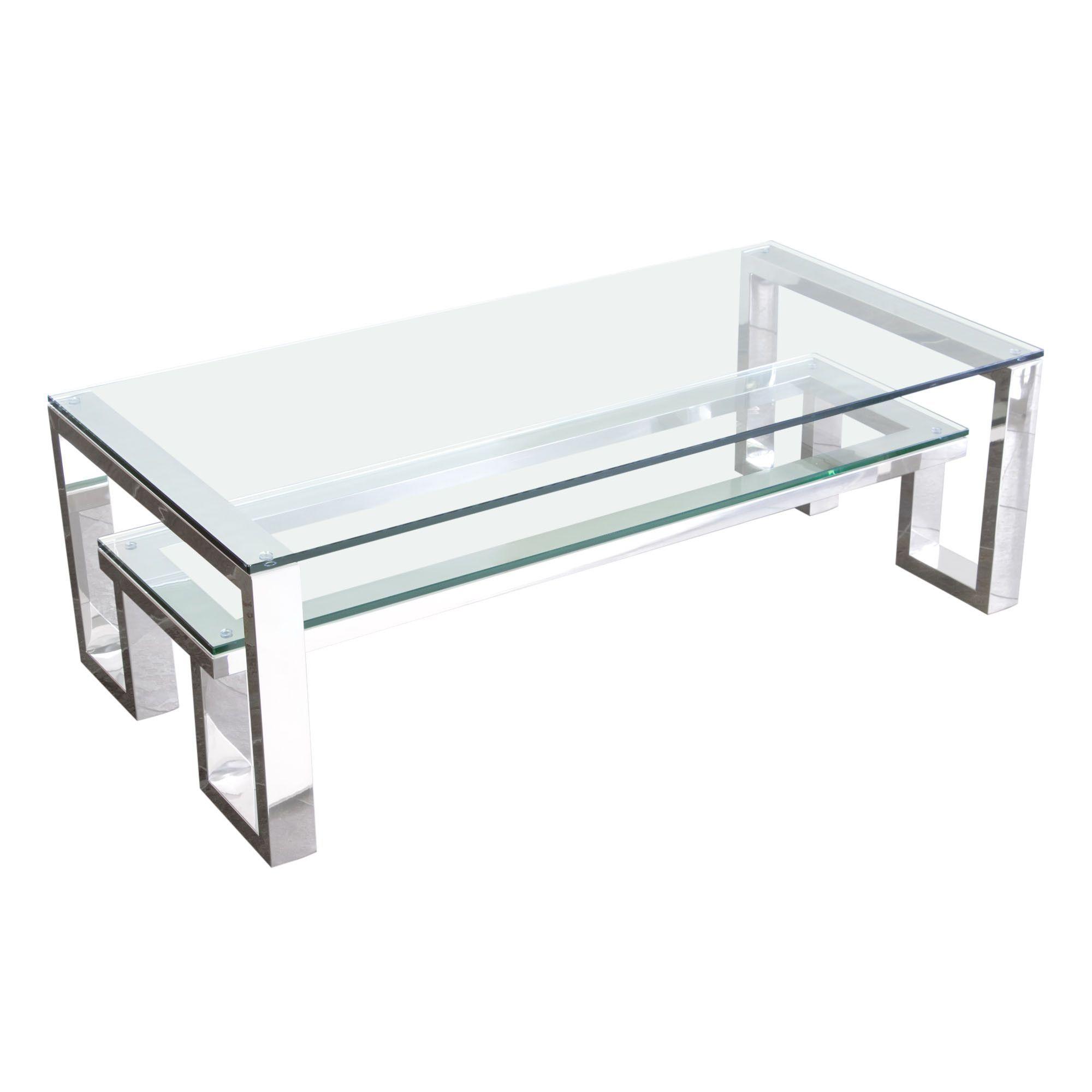 Carlsbad Cocktail Table With Clear Glass Top Shelf With Stainless Steel Frame By Diamond Sofa Mesa De Centro De Vidrio Mesas De Comedor Comedores De Vidrio [ 2000 x 2000 Pixel ]