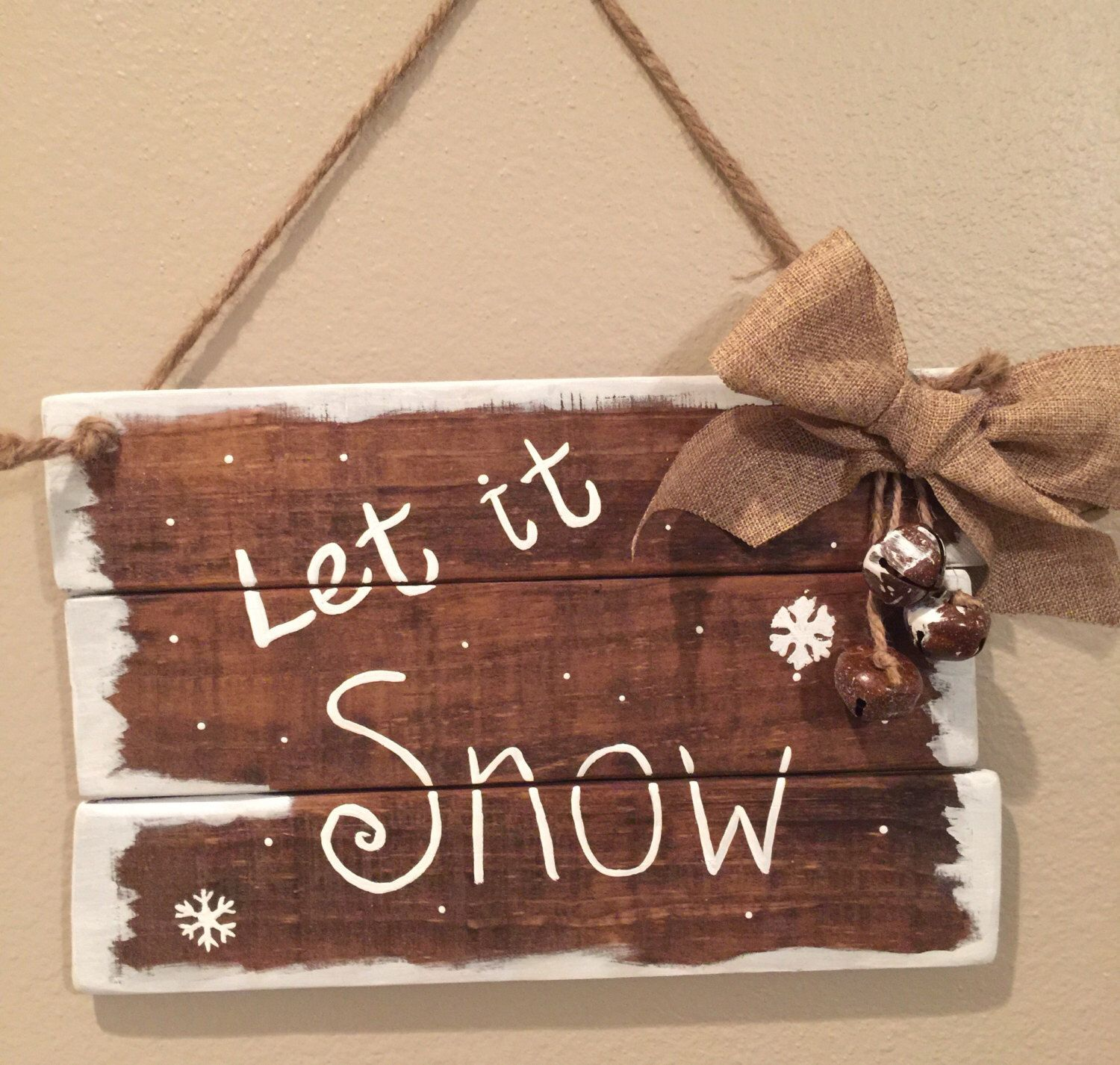 Wooden Christmas signs Farmhouse Christmas decor Let it