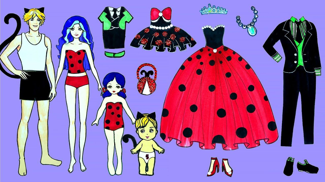 Paper Dolls Family Dress Up Party Ladybug Cat Noir Costumes Handmade Barbie Paper Dolls Doll Family Princess Paper Dolls