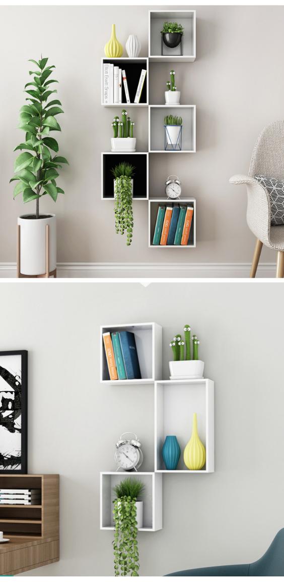 White Boxes Wall Bookshelf Creative Wall Racks Wall Hanging Shelves Rack Desain Rumah Desain Rumah #wall #mounted #shelves #for #living #room
