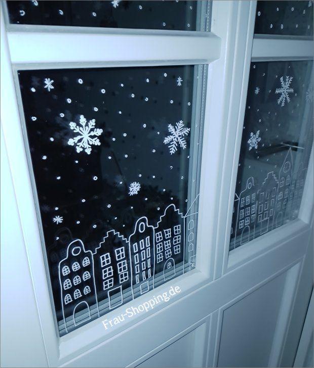 Weihnachtliche Fensterbilder mit Kreidestift (Frau Shopping) #weihnachtlichefensterdeko