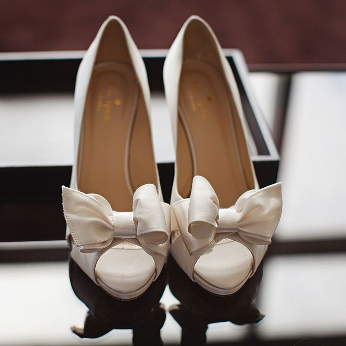 Kate Spade   White Satin Open Toe Wedding Shoes With A Bow