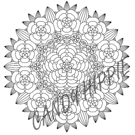 Mandala Coloring Page - Flower Garden - instant download printable ...
