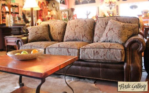 Studded Leather and Paisley Patterned Fabric Sofa ...