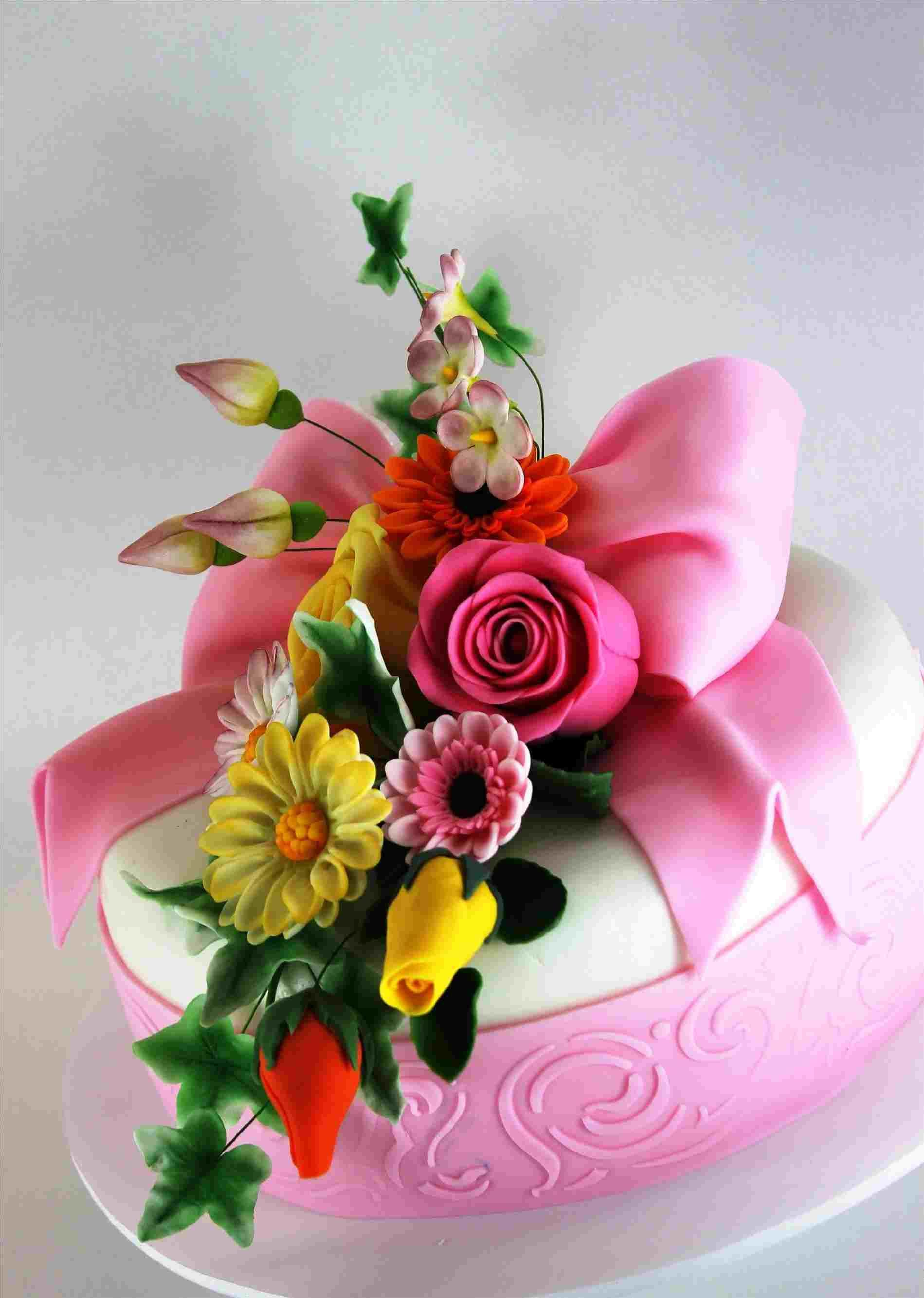 Birthday Cake With Flowers Bouquet Cake With Flower Happy Birthday Flower Cake Beautiful Birthday Cakes Birthday Cake With Flowers