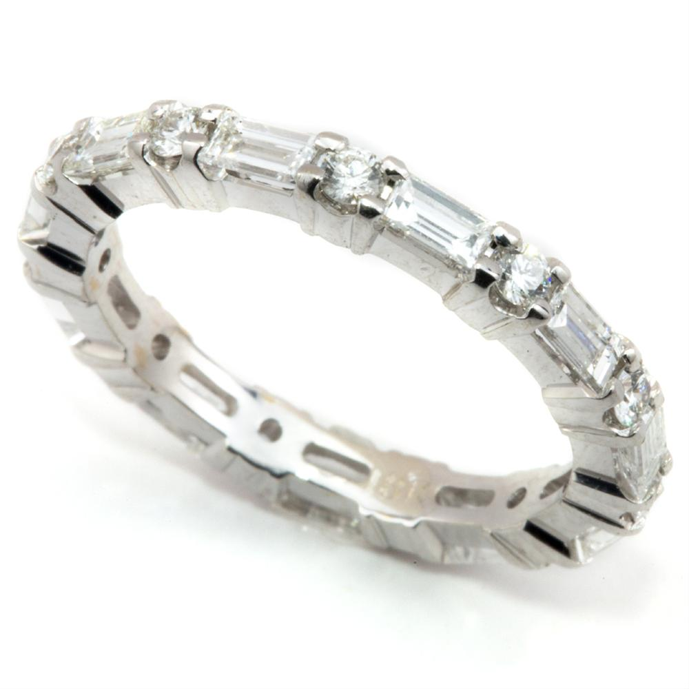 Baguette & Round Diamond Alternating Eternity Wedding Band ...