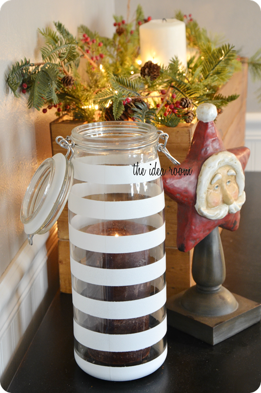Decorated Jars For Christmas Painted Jars Christmas Decor With #3M #scotchtapeblue Via Amy