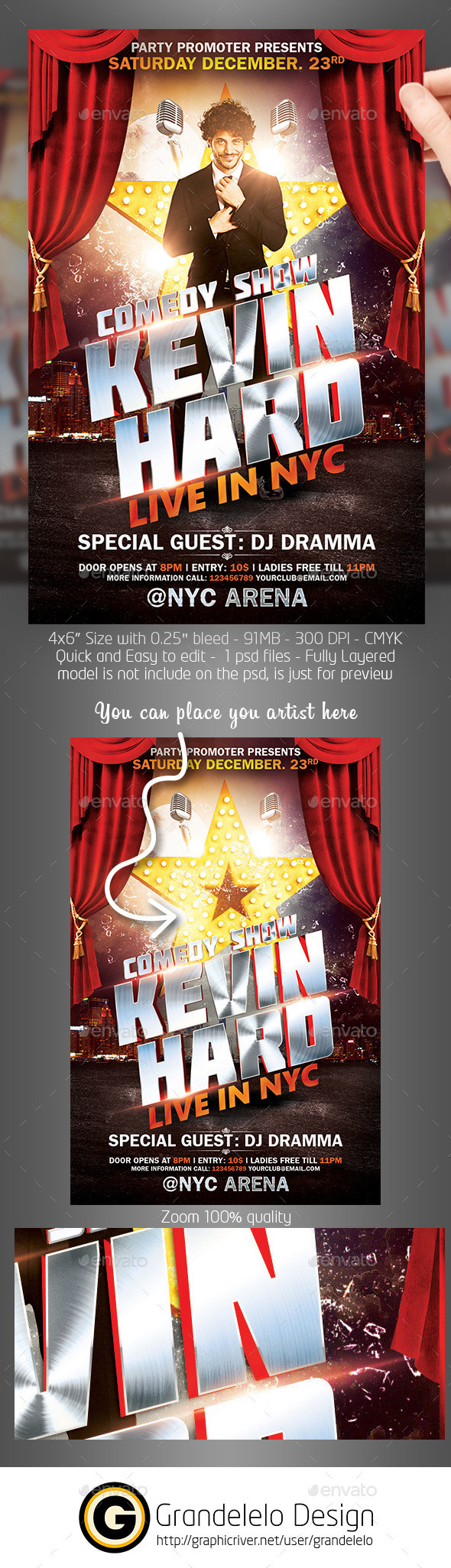 Comedy Show Flyer Template PSD on Behance Poster – Comedy Show Flyer Template
