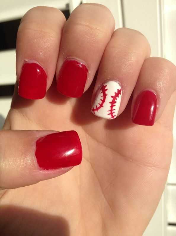 Baseball Nails Probably Pretty Easy To Do For Shorter Nails Nail Art For Short Nails Red