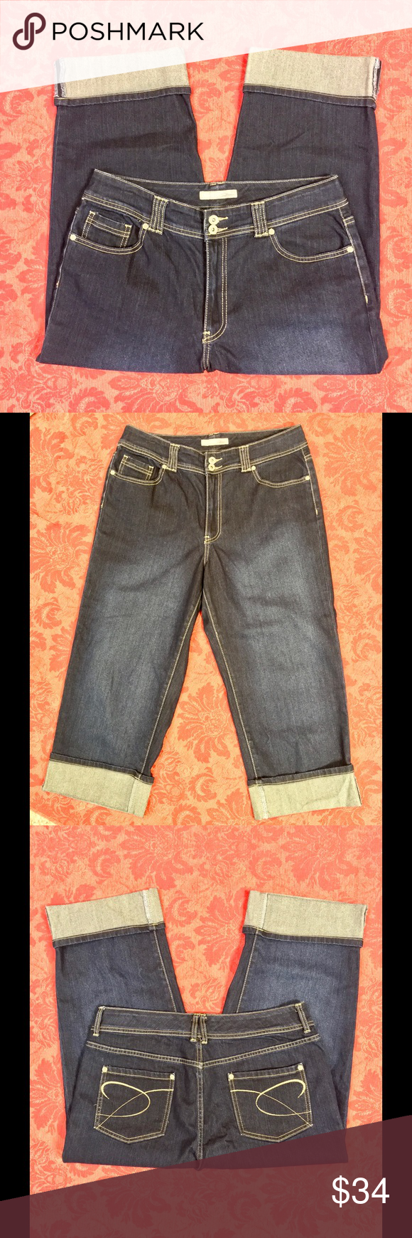 "Chico's Claire Crop Jeans NWOT New without tags condition ""Claire"" cropped jeans from Chico's! Darker wash is super figure flattering. Cuffed. Has 1% spandex. Inseam measures approx 23"". Chico's size 2.5 = U.S. size 14. Chico's Jeans Ankle & Cropped"