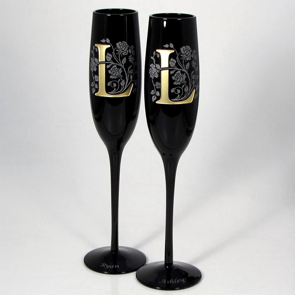 Lovely Black And Gold Wedding Champagne Flutes, Personalized Wedding Flutes.  $125.00, Via Etsy.