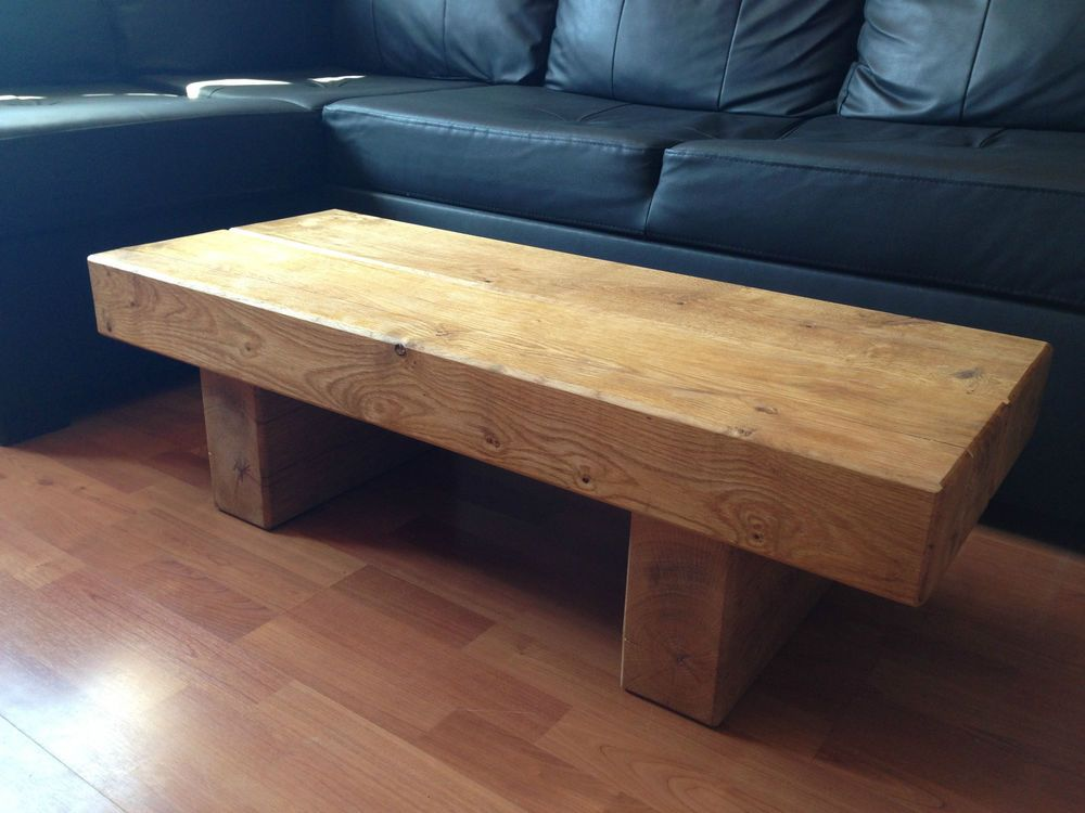 Lovely Chunky Rustic Solid Oak Sleeper Coffee Table. This Table Is Available In 6  Different Sizes Handmade From Green Oak So In Time It Will Crack And Move  To Its ...