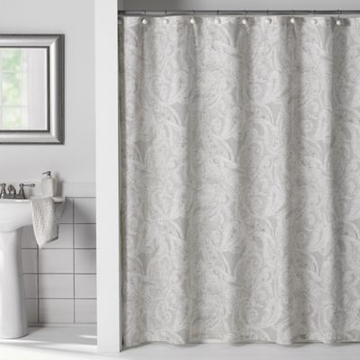 Buy Flatiron Linen Paisley 72 Inch X 96 Inch Shower Curtain From Bed Bath Beyond Paisley Shower Curtain Silver Shower Curtain Shower Curtain
