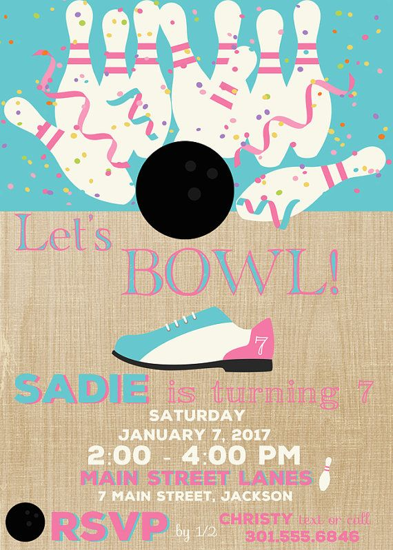 Bowling Invitation Printable Girlu0027s Bowling Party by Freshcitrus - bowling invitation