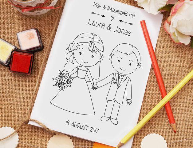 Mit diesem Mal- und Rätselheft wird es Euren kleinen Hochzeitsgästen garantiert nie Langweilig! Das  Mal- und Rätselheft beinhaltet auf insgesamt 16 Seiten knifflige Rätselaufgaben, niedliche...